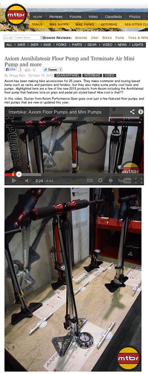 Annihilateair, Kompressair, Terminateair, and Exterminateair bike pumps by Axiom Performance Gear on MTBR.com