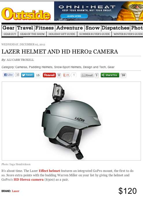 Lazer Effect snow helmet in Outside Magazine online