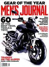Men's Journal December 2012 cover with Serfast Thunderbolt bike light