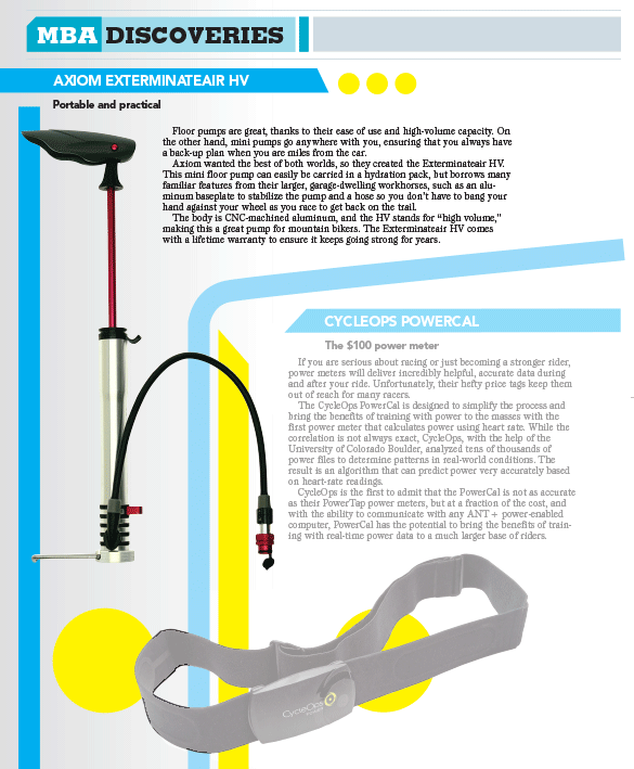 Axiom Exterminateair cycle pump in Mountain Bike Action magazine