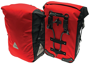 Pair of red, Monsoon DLX 35 bike panniers by Axiom