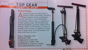 Propelair, Enforceair, Kompressair bicycle pumps in Bicycling Australia