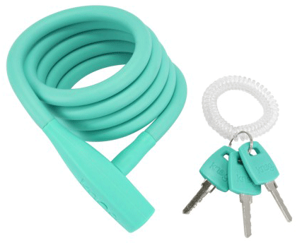 Teal Knog Party Coil bike lock with 3 keys and wrist band