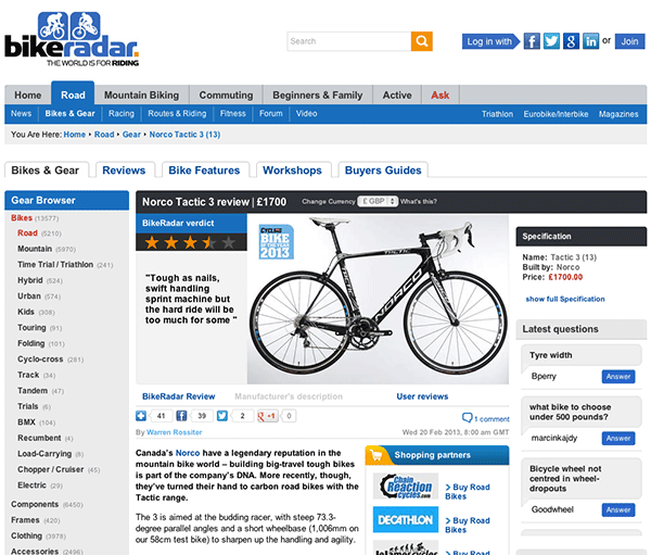 Norco Tactic 3 road bike in bikeradar.com