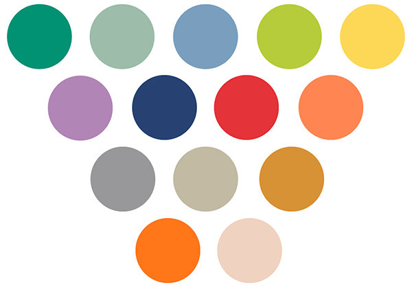Pantone palette of spring colours including dusk blue, monaco blue, grayed jade, and eleven others.