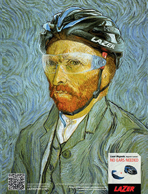 Van Gogh self-portrait, but with Lazer Helium bike helmet, Magneto glasses, and no ears
