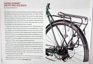 Review of Axiom UniFit bicycle rack in Bicycle Times magazine