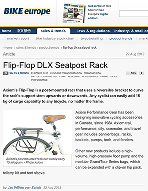 Axiom Flip-Flop seatpost mounted rack in Bike Europe