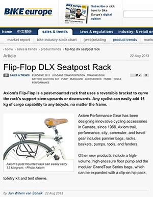 Axiom Flip-Flop seatpost mounted rack in Bike Europe