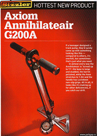 Axiom Annihilateair bike floor pump in Cycling Weekly with red background