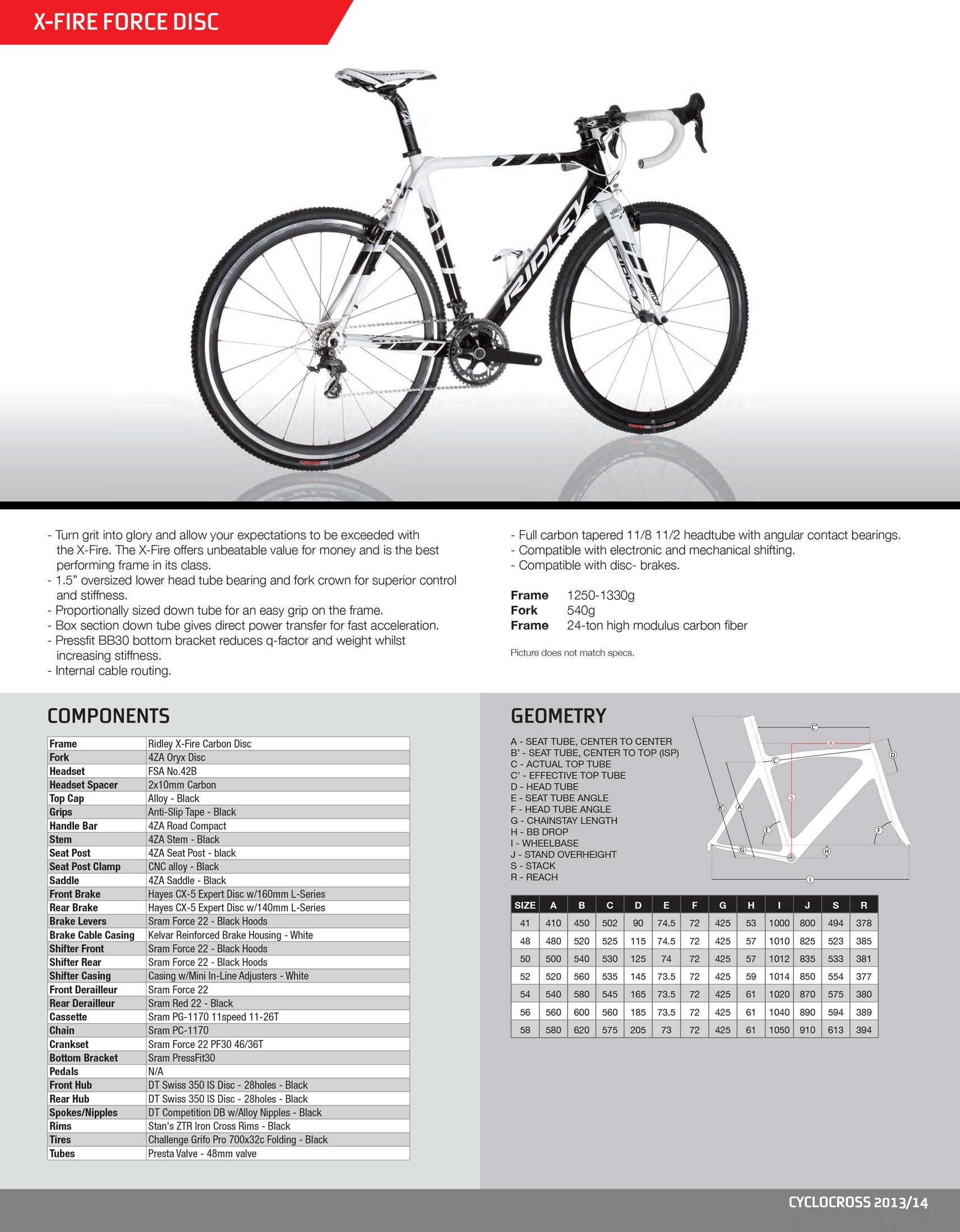 Spec Sheet Ridley X Fire Force Disc Carbon Cyclocross