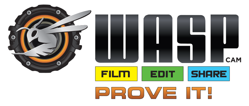WASPcam logo and tagline: Film, Edit, Share. Prove it!